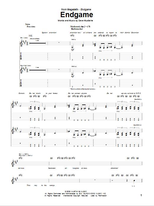 Download Megadeth Endgame sheet music and printable PDF score & Pop music notes