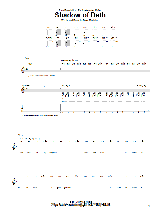 Download Megadeth Shadow Of Deth sheet music and printable PDF score & Rock music notes