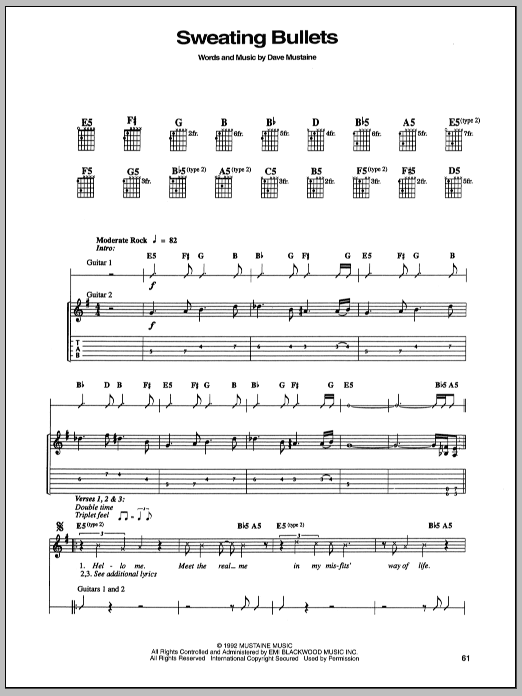 Download Megadeth Sweating Bullets sheet music and printable PDF score & Pop music notes