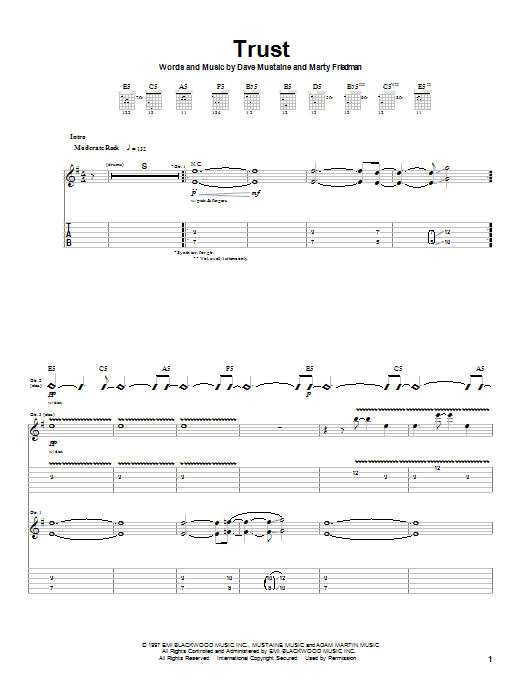Download Megadeth Trust sheet music and printable PDF score & Pop music notes