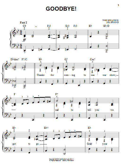 Download Mel Brooks Goodbye! sheet music and printable PDF score & Musicals music notes