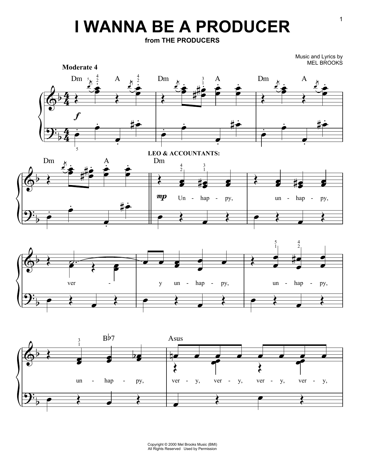 Download Mel Brooks I Wanna Be A Producer sheet music and printable PDF score & Musicals music notes