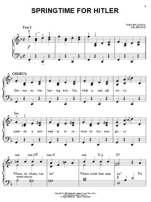Download Mel Brooks Springtime For Hitler sheet music and printable PDF score & Musicals music notes