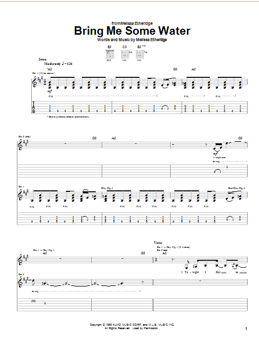 Download Melissa Etheridge Bring Me Some Water sheet music and printable PDF score & Pop music notes