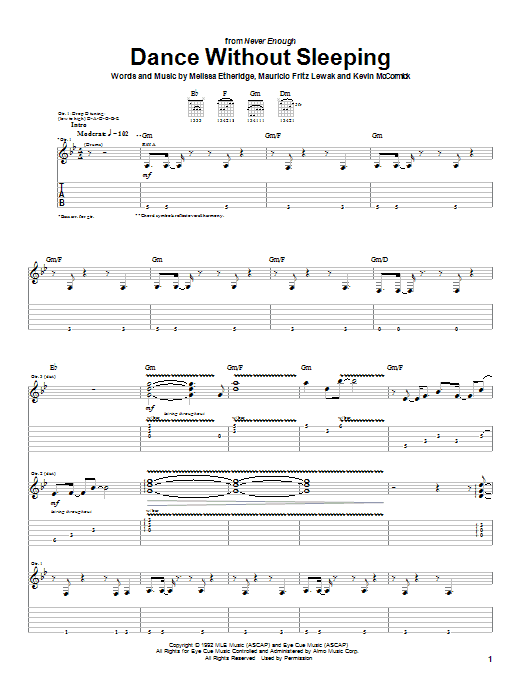 Download Melissa Etheridge Dance Without Sleeping sheet music and printable PDF score & Pop music notes