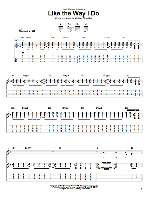 Download Melissa Etheridge Like The Way I Do sheet music and printable PDF score & Rock music notes