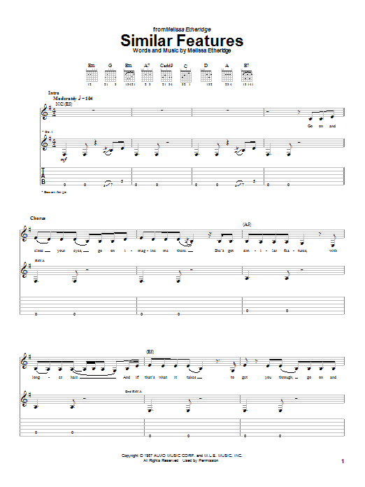 Download Melissa Etheridge Similar Features sheet music and printable PDF score & Pop music notes