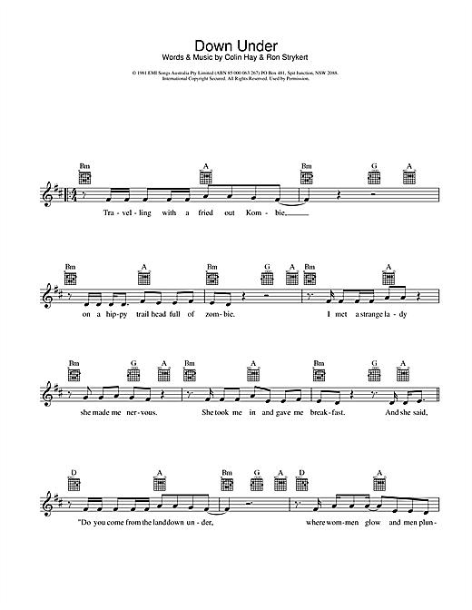 Download Men At Work Down Under sheet music and printable PDF score & Rock music notes
