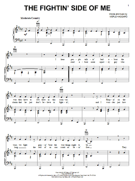 Download Merle Haggard The Fightin' Side Of Me sheet music and printable PDF score & Country music notes