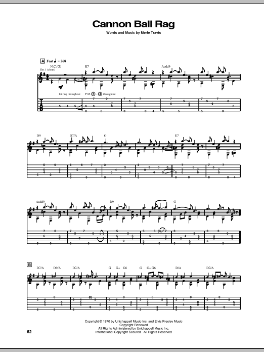 Download Merle Travis Cannon Ball Rag sheet music and printable PDF score & Pop music notes