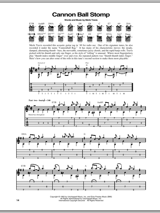 Download Merle Travis Cannon Ball Stomp sheet music and printable PDF score & Pop music notes