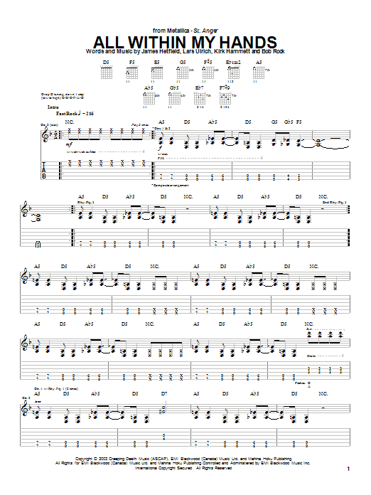Download Metallica All Within My Hands sheet music and printable PDF score & Metal music notes