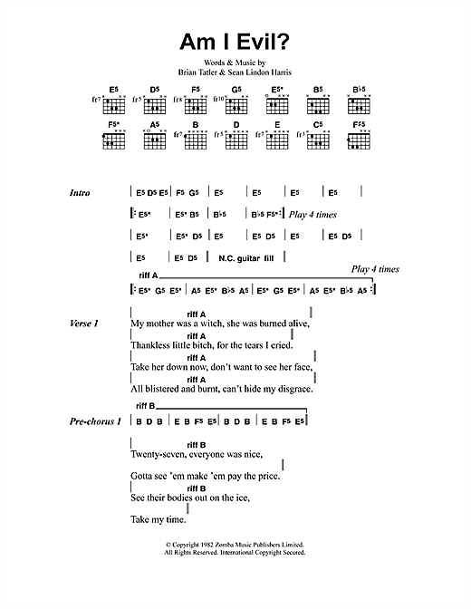 Download Metallica Am I Evil? sheet music and printable PDF score & Pop music notes