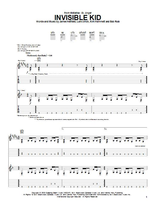 Download Metallica Invisible Kid sheet music and printable PDF score & Metal music notes