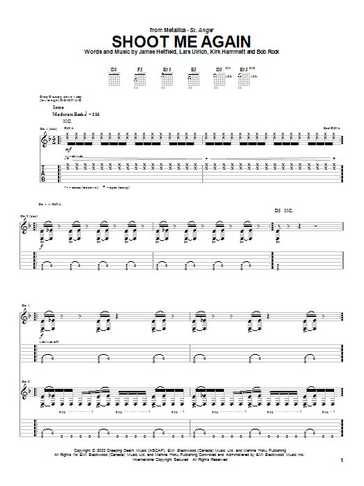 Download Metallica Shoot Me Again sheet music and printable PDF score & Metal music notes