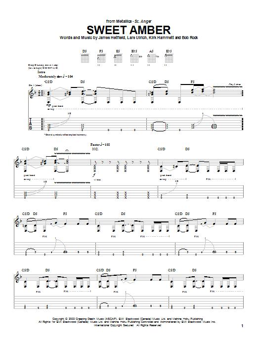 Download Metallica Sweet Amber sheet music and printable PDF score & Metal music notes