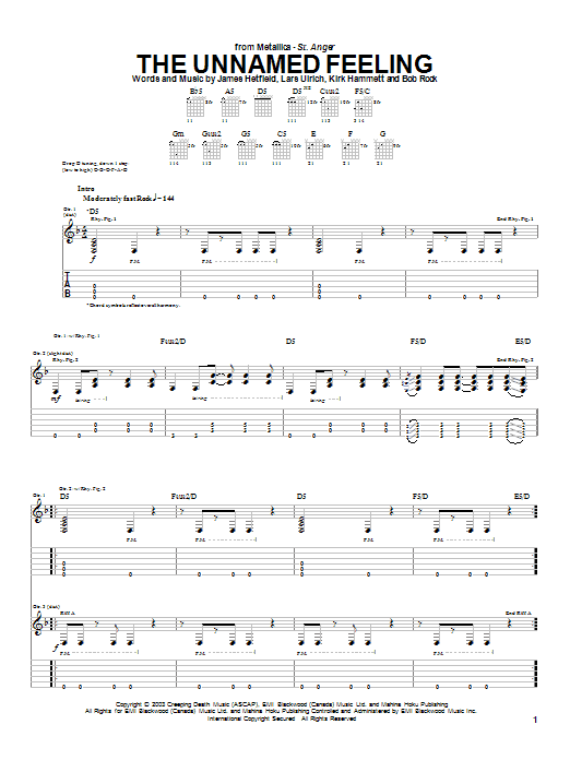 Download Metallica The Unnamed Feeling sheet music and printable PDF score & Metal music notes