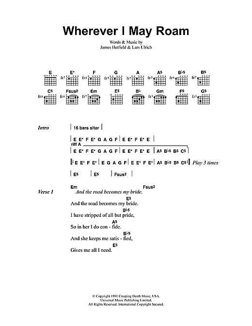 Download Metallica Wherever I May Roam sheet music and printable PDF score & Pop music notes