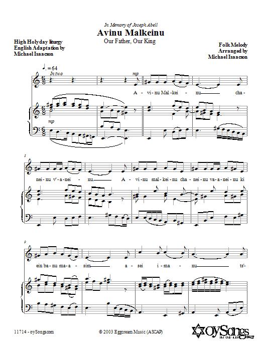Download Michael Isaacson Avinu Malkeinu sheet music and printable PDF score & Choral music notes