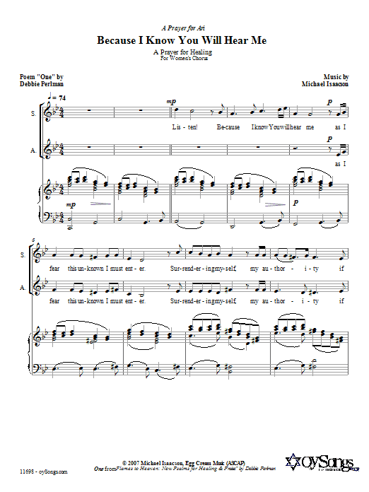 Download Michael Isaacson Because I Know You Will Hear Me sheet music and printable PDF score & Choral music notes