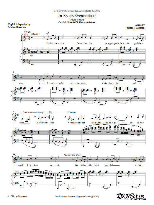 Download Michael Isaacson In Every Generation (L'dor Vador) sheet music and printable PDF score & Choral music notes
