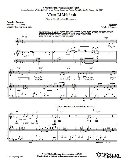 Download Michael Isaacson V'asu Li Mikdash (Hear a Small Voice Whispering) sheet music and printable PDF score & Choral music notes