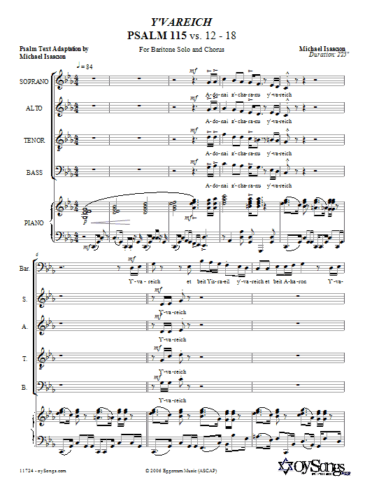 Download Michael Isaacson Y'vareich (Psalm 115) sheet music and printable PDF score & Choral music notes