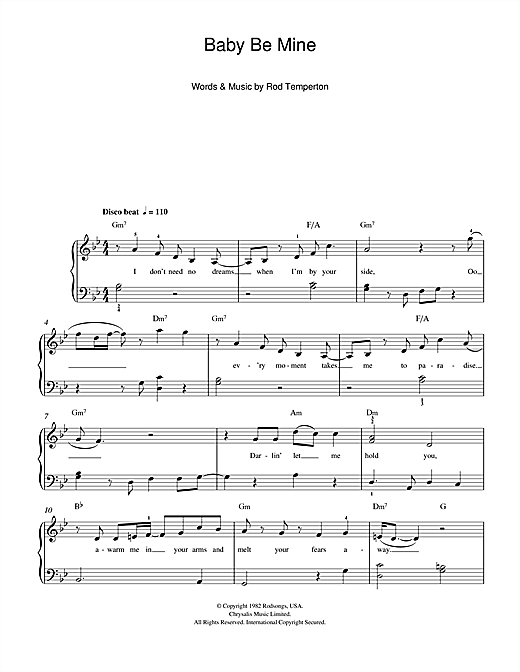 Download Michael Jackson Baby Be Mine sheet music and printable PDF score & Pop music notes