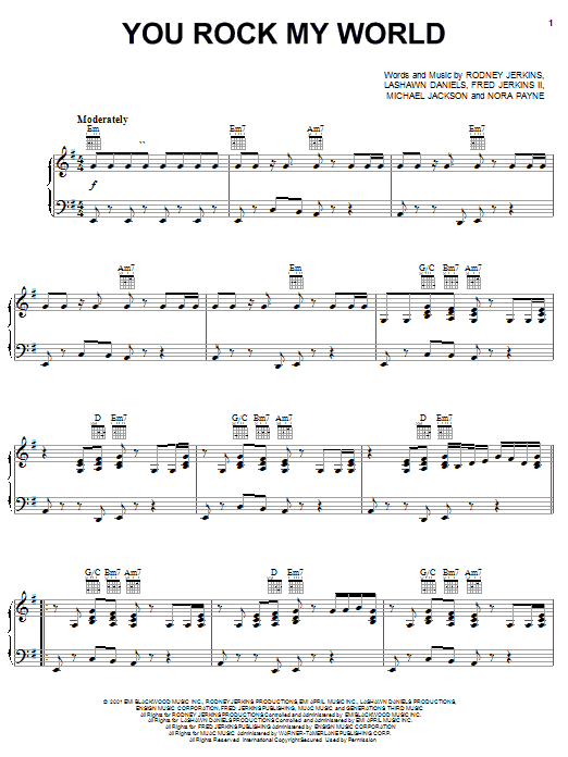 Download Michael Jackson You Rock My World sheet music and printable PDF score & Pop music notes