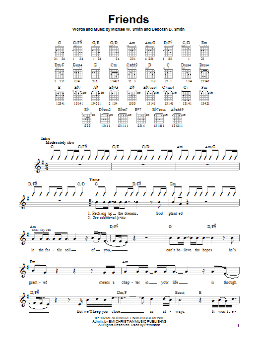 Download Michael W. Smith Friends sheet music and printable PDF score & Pop music notes