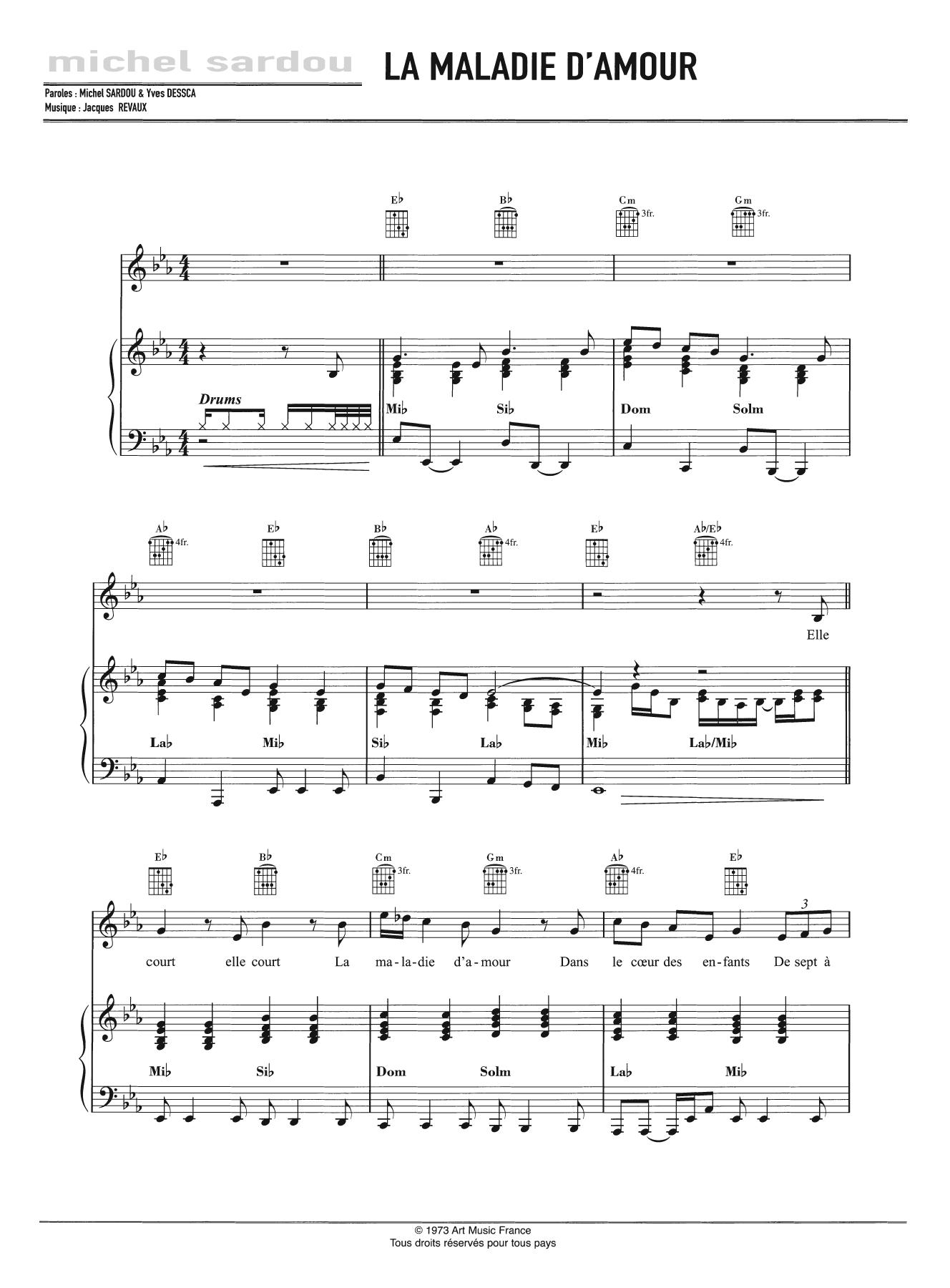 Michel Sardou La Maladie D Amour Sheet Music Download Printable Pop Pdf Score How To Play On Piano Vocal Guitar Sku 125474