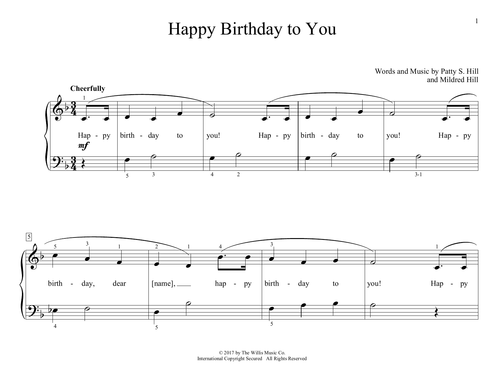 Mildred Hill Patty Hill Happy Birthday To You Arr Christopher Hussey Sheet Music Download Printable Traditional Pdf Educational Piano Score Sku 411431