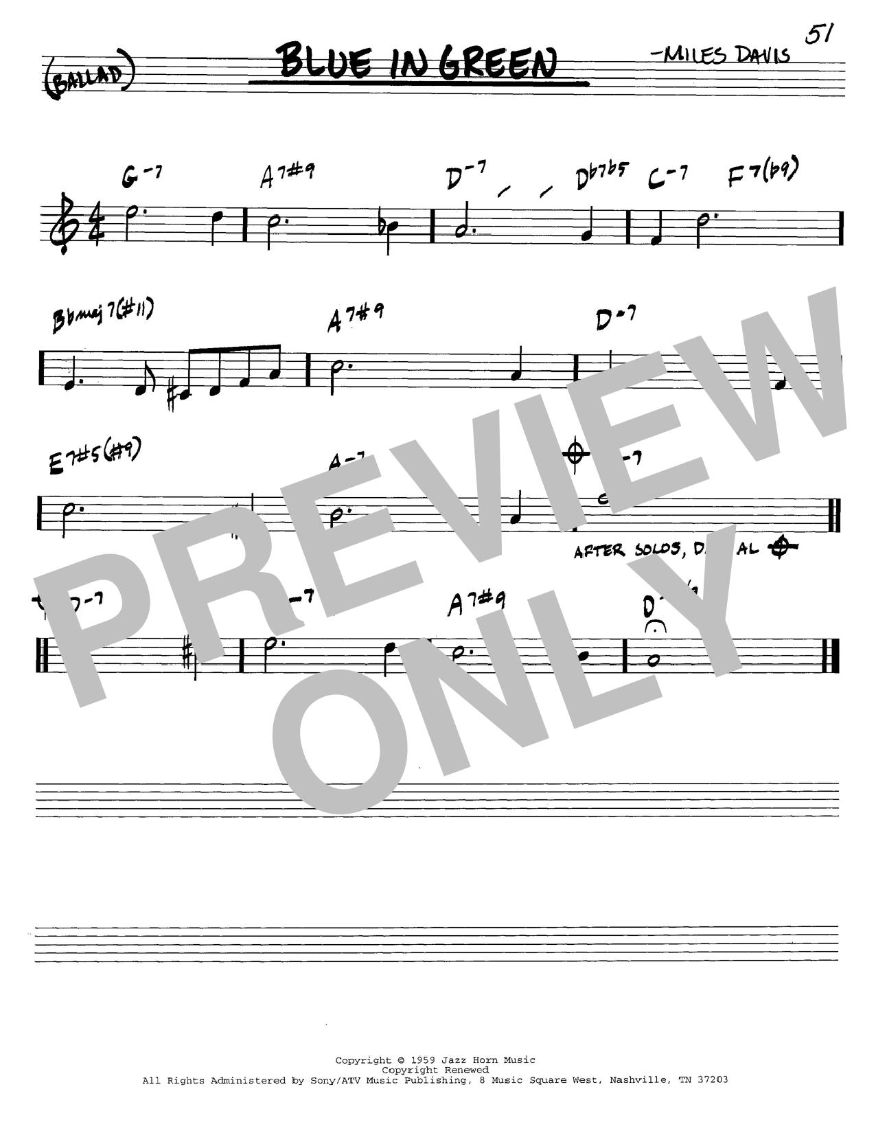 Download Miles Davis Blue In Green sheet music and printable PDF score & Jazz music notes