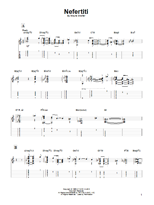 Download Miles Davis Nefertiti sheet music and printable PDF score & Jazz music notes