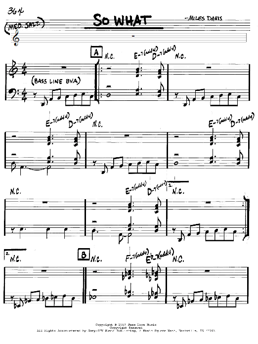 Download Miles Davis So What sheet music and printable PDF score & Jazz music notes