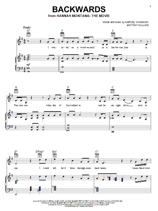 Download Rascal Flatts Backwards sheet music and printable PDF score & Film and TV music notes