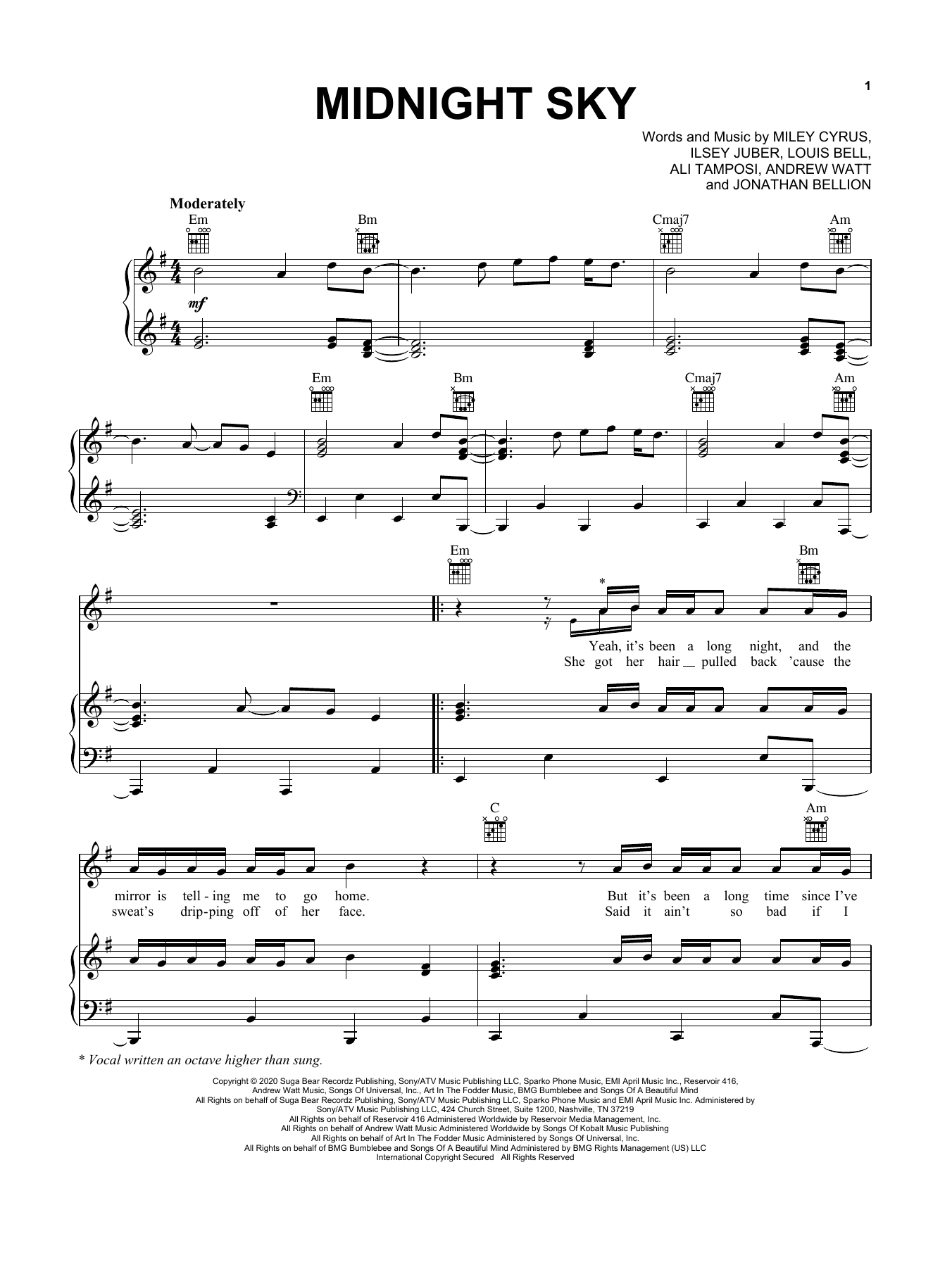 Download Miley Cyrus Midnight Sky sheet music and printable PDF score & Pop music notes