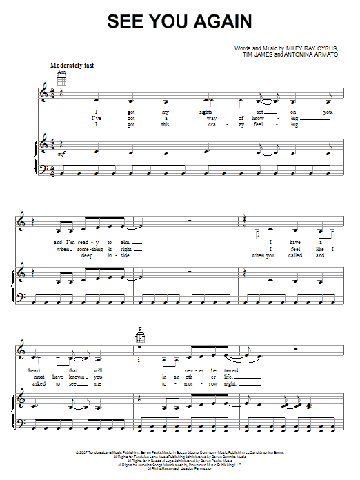 Download Miley Cyrus See You Again sheet music and printable PDF score & Pop music notes