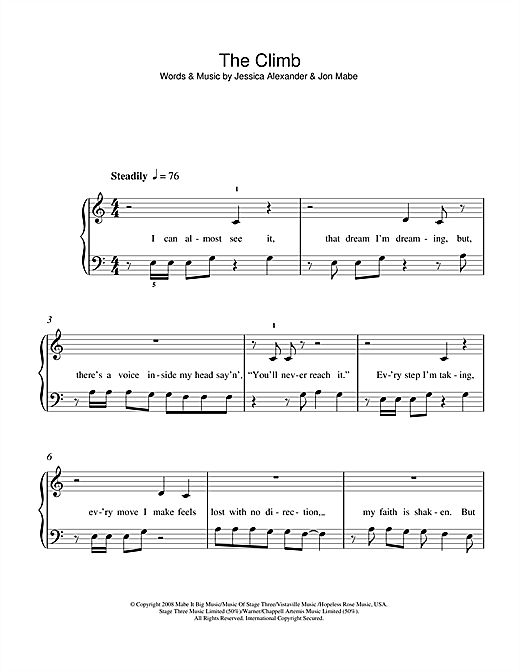 Download Miley Cyrus The Climb sheet music and printable PDF score & Pop music notes