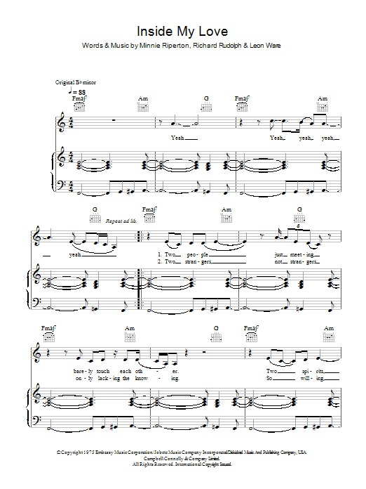 Download Minnie Riperton Inside My Love sheet music and printable PDF score & Pop music notes