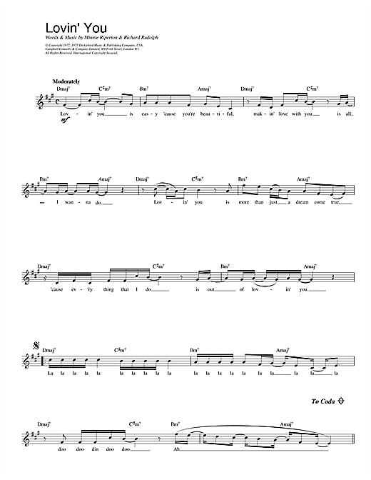 Download Minnie Riperton Lovin' You sheet music and printable PDF score & Soul music notes
