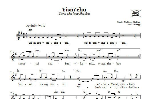Download Molitzer Rebbe Yism'chu (Those Who Keep The Sabbath) sheet music and printable PDF score & Religious music notes