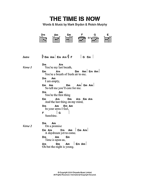 Download Moloko The Time Is Now sheet music and printable PDF score & Pop music notes