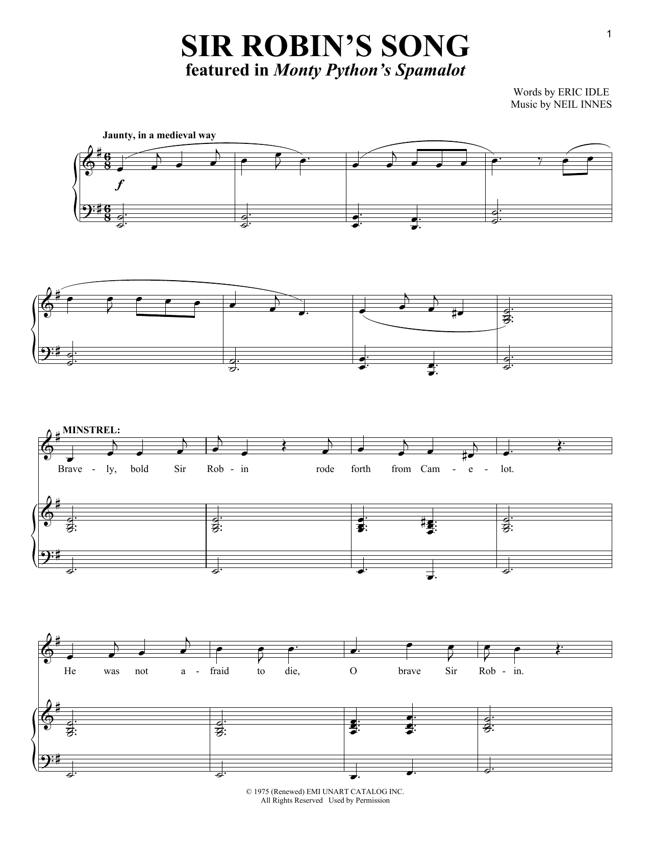 Download Monty Python's Spamalot Robin's Song sheet music and printable PDF score & Musicals music notes