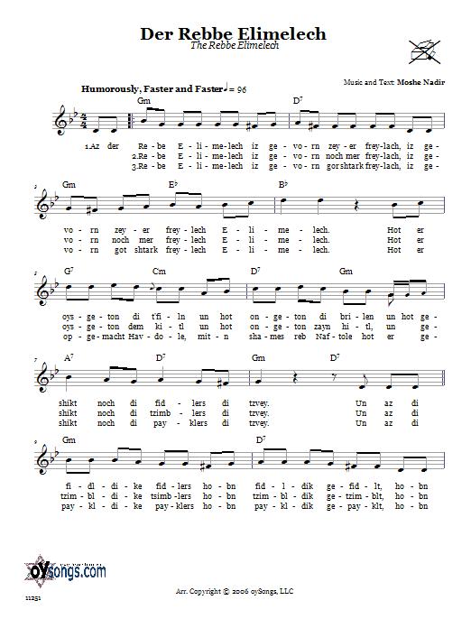 Download Moshe Nadir Der Rebbe Elimelech (The Rebbe Elimelech) sheet music and printable PDF score & Religious music notes