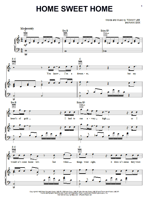 Download Motley Crue Home Sweet Home sheet music and printable PDF score & Pop music notes