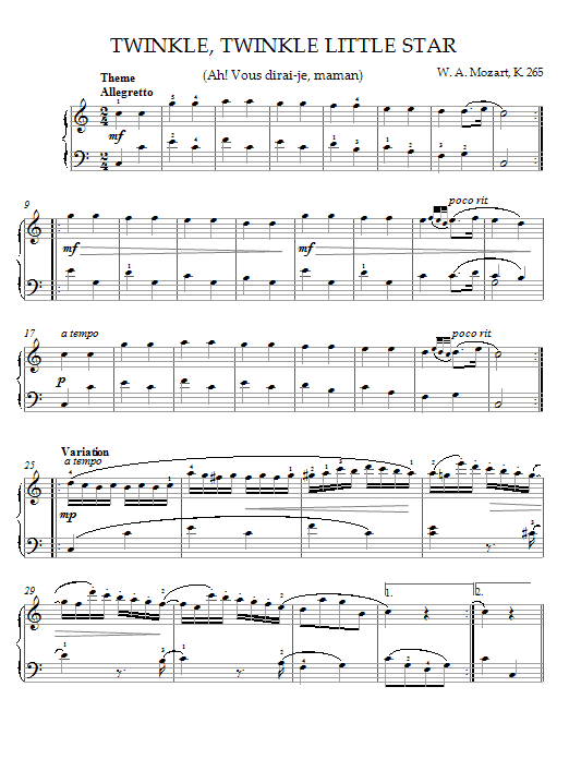 Download Wolfgang Amadeus Mozart Twinkle, Twinkle, Little Star (Ah! Vous dirai-je, maman) Theme sheet music and printable PDF score & Pop music notes