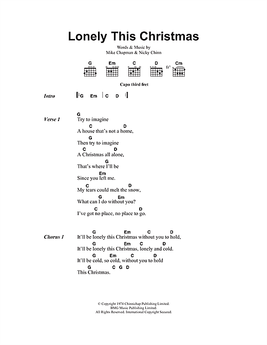 Download Mud Lonely This Christmas sheet music and printable PDF score & Pop music notes