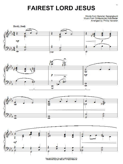 Download Munster Gesangbuch Fairest Lord Jesus [Jazz version] (arr. Phillip Keveren) sheet music and printable PDF score & Hymn music notes