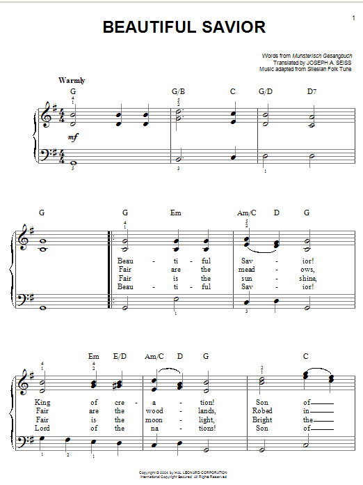 Download Musterisch Gesangbuch Beautiful Savior sheet music and printable PDF score & Hymn music notes